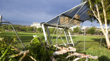A sight screen on Phillip Enclosed oval flipped over and was damaged by the storm.