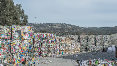 The materials recovery faciity (recycling centre) in Hume, swamped by the volume of materials dumped there.