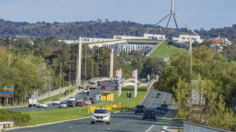 Commonwealth Avenue Bridge. An academic says if stage two of light rail is not completed workers and residents of south Canberra will suffer from endless car parks.