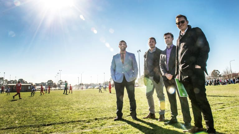 Canberra A-League bid team members Michael Caggiano, Adam Castle, Aaron Walker and Bede Gahan.