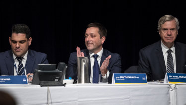 Former Liberal leader Matthew Guy, flanked by ex-state director Nick Demiris and former president Michael Kroger at the state conference in April. All three quit their posts after November's humiliating election loss.