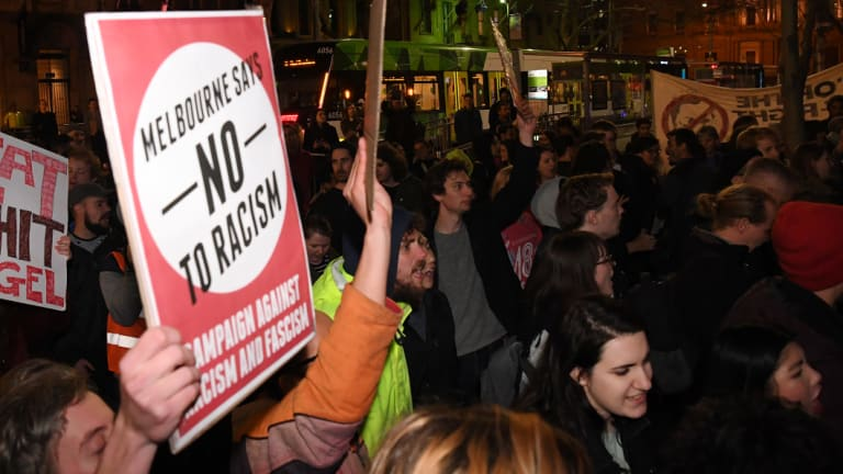 Protesters outside the Sofitel Hotel in Melbourne on Friday evening, opposing British alt-right speaker Nigel Farage.