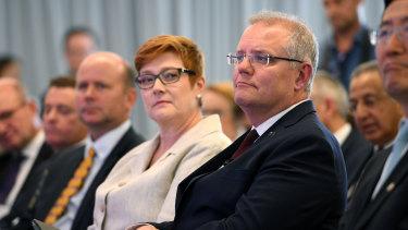 Prime Minister Scott Morrison on Thursday, with Foreign Minister Marise Payne.