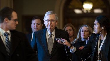Senate Majority Leader Mitch McConnell, a Republican from Kentucky, after speaking on the Senate floor on Tuesday.