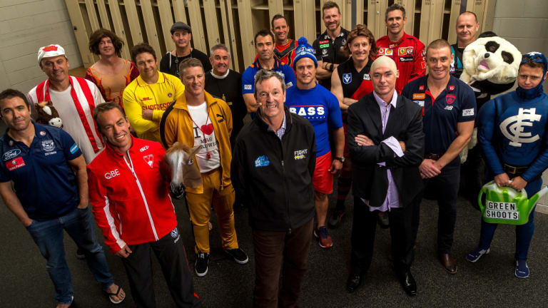 The 18 AFL coaches with Neale Daniher.