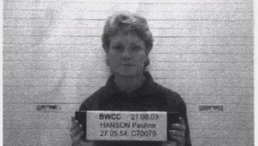 Pauline Hanson pictured as she started her sentence in Queensland's Wacol women's prison.