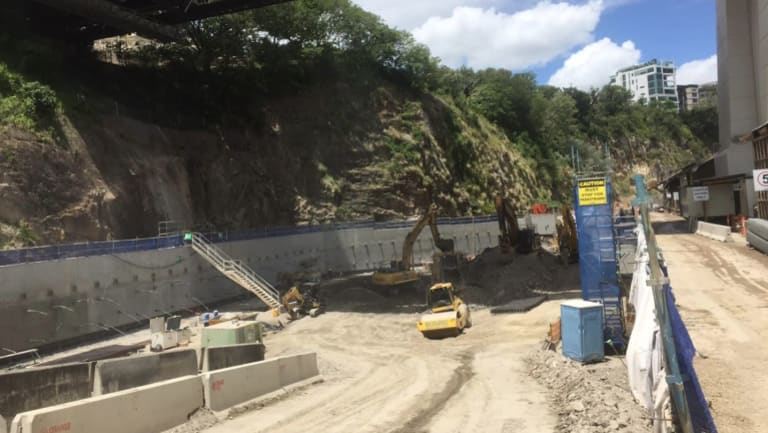 An underground car park is being excavated under the Story Bridge for the Howard Smith Wharf redevelopment.