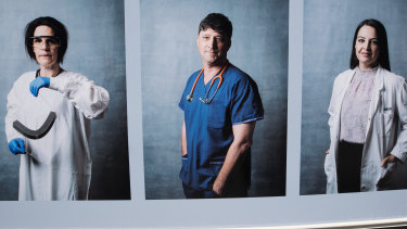 Professor David Story features in the photo essay designed to thank madical professional for their care under COVID, installed in Parkville as part of the Metro Tunnel arts project.