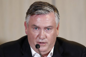 MELBOURNE, AUSTRALIA - FEBRUARY 01: Collingwood President Eddie McGuire speaks to the media at Collingwood Magpies AFL press conference at the Glasshouse Event Space on February 01, 2021 in Melbourne, Australia.  (Photo by Darrian Traynor/Getty Images)