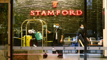 Security guards at the Stamford Plaza in the Melbourne CBD have been linked to a coronavirus outbreak.