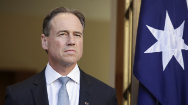 """Minister for Health Greg Hunt on Friday. He initially called the tests """"of the highest quality""""."""