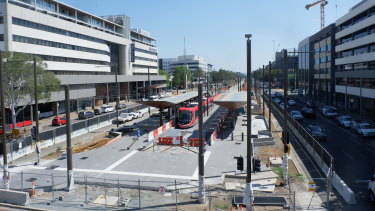 Light rail has arrived at Alinga Street in the centre of Canberra after eight months of testing.