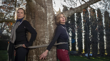 """I'll tie myself to anything,"" says Skye Leckie, who is campaigning against the trees' removal with Janet Storrier."