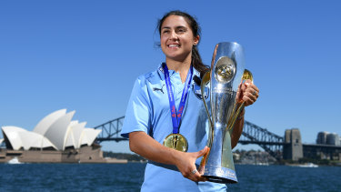 Happy days: Fresh from steering Sydney FC to the W-League title, Teresa Polias is in the mix for her first Matildas appearance since 2015