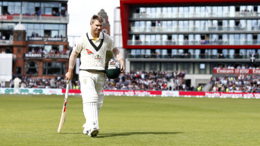 An all-too familiar sight this series, Warner returning to the pavilion after a short stay at the crease.