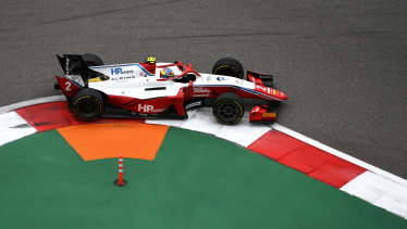 Oscar Piastri on the way to victory in the  F2 feature race at Sochi in Russia.