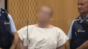 The alleged mosque shooter appears in the District Court, Christchurch.
