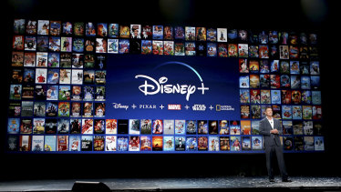 Kevin Mayer unveils Disney+ at the 2019 D23 Expo in Los Angeles.