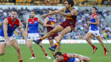 Off to a flier: Brisbane's Charlie Cameron gets airborne at the Gabba.
