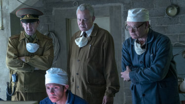 Stellan Skargard (centre) and Jared Harris (right) in Chernobyl.