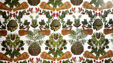 Elizabeth Willing's wallpaper featuring native flora and fauna inside Melbourne Art Fair's Vault Hall.