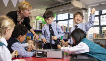 Boys and girls in year one at Kincoppal-Rose Bay School of the Sacred Heart (KRB) during a science lesson