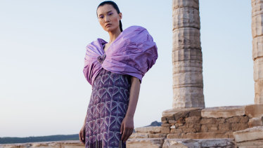 Mary Katrantzou's epic show at the ancient Temple of Poseidon on Cape Sounion, in Greece.