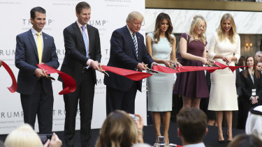 The opening of Trump International Hotel in 2016. From left: Donald Trump jnr, Eric Trump, Donald Trump, Melania Trump, Tiffany Trump and Ivanka Trump.
