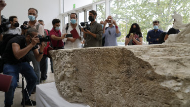 The monumental pomerial stone is dating back to Roman Emperor Claudio and was used to mark the 'pomerium' the sacred boundaries of the 'Urbe', the city of Rome, during the Roman empire.