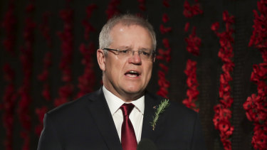 Prime Minister Scott Morrison delivers the address during the Anzac Day commemorative service.