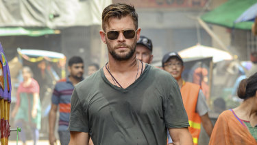 Chris Hemsworth as Tyler Rake in Extraction.