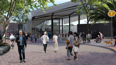 The proposed Marian Street entrance on the eastern side of the station and shared zone.