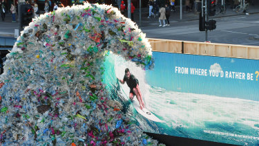 """A 1,580kg """"wave of waste"""" unveiled by Corona in Melbourne on June 4."""