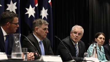 Prime Minister Scott Morrison addresses the media with Premiers and Chief Minister on March 13.