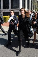 Ben Aulich (left) arriving at court with Peta Credlin.