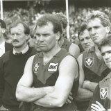 Melbourne coach John Northey and players after the 1988 grand final.