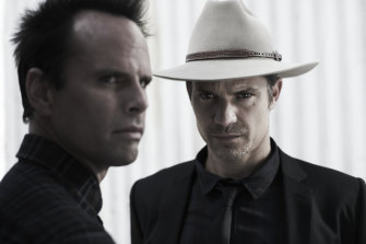 Justified starring Walton Goggins, left, with Timothy Olyphant is on Stan.