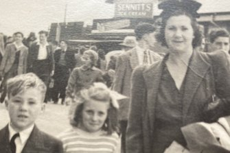 Brian Halfpenny and Helene Cohen with Brian's mother Beatrice at the Royal Melbourne Show in 1948.