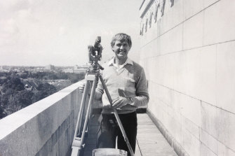 Frank Johnston on the Shrine upper walkway, circa 1980.