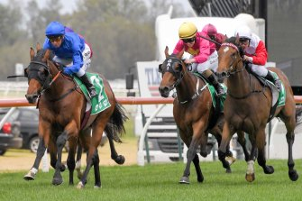 Destination, left, gets the jump on Mrs Maisel, right, in the opener at Kembla Grange yesterday.