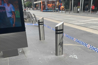 A bollard in Bourke Street Mall damaged in the incident.