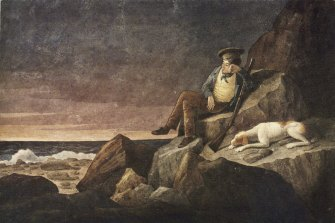 Augustus Earle's 1824 watercolour, Solitude. It depicts him during the time he was stranded on Tristan de Acunha.