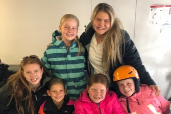 Six cousins from Mildura pictured in Falls Creek last year. Top row: Isabel Oldham (left) and Elizabeth Rowe. Front row from left: Abigail Rowe,  Olivia Oldham, Eloise Rowe and Maya Oldham.