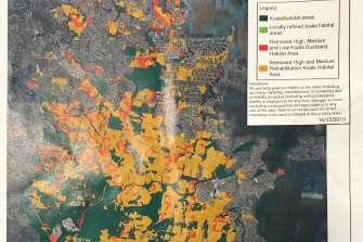 Red zones identify high quality koala habitat in Redlands identified by the state government which has been removed from new mapping. Yellow areas are bushland that is being rehabilitated as koala habitat which is also not included in the plan.