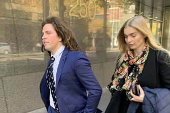 Callum Buczak and girlfriend Alexandra McDonough pictured leaving court last May.