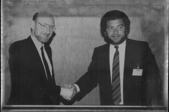Sir Clive Sinclair, left, with Alan Sugar, who bought Sinclair's products and brand name for £5 million in 1986.