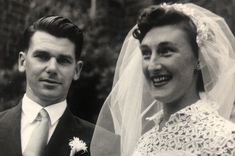 Peter and Jean at their wedding in 1955.