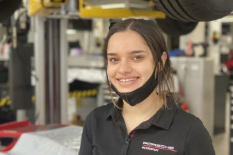Olivia Camilleri, a first-year apprentice motor mechanic with Porsche, says the support from the company has been strong.