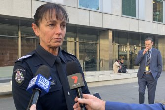 Acting Sergeant Meredith Grisold outside court on Monday.