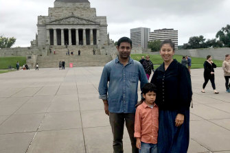 Sanjay Karmakar and Fuyuka Iijima with son Hinotaro.